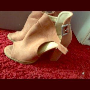 Pink suede open toe heels